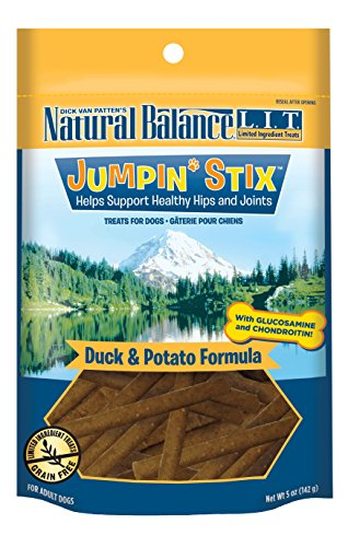 (Natural Balance L.I.T. Limited Ingredient Treats Jumpin' Stix Dog Treats, Grain Free, Duck & Potato Formula, 5-Ounce)