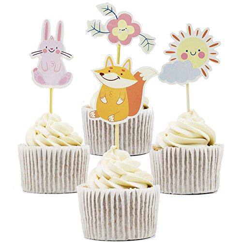 (Betop House 24pcs Rabbit Fox Sun Flower Party Decorative Cupcake Topper)
