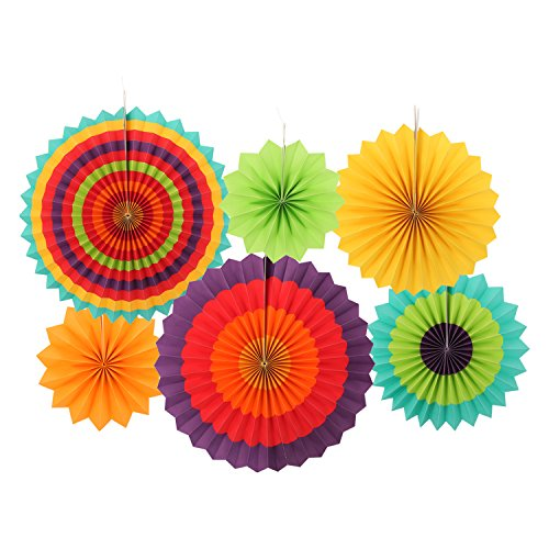 Ohuhu Fiesta Colorful Paper Fans Decoration for Party Birthday Events Wedding and Home, Set of 6