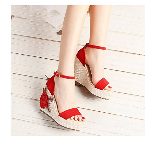 Wedge Sandals Braided Thick Sandals Bohemian Style Ankle Shoes (Color : Red, Size : 34)