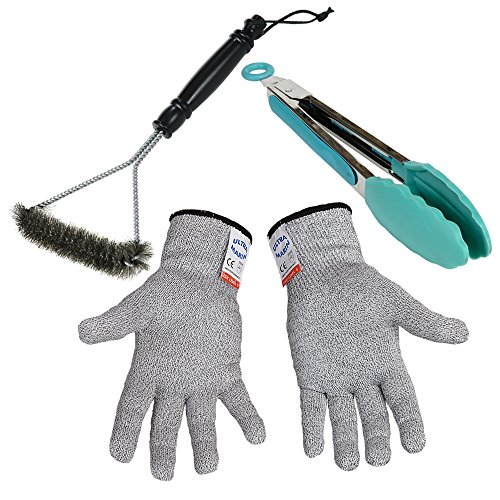 BBQ grill set NoCry Cut Resistant Gloves Brush with Hanging Loop Cleaning Stainless Steel Tongs with Silicone Tips Turner for Cooking Salad Kitchen (Grill And Under Car Light compare prices)