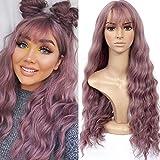 HUA MIAN LI Long Wavy Wig With Air Bangs Silky Full