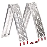 BestMassage 7.5 ft Aluminum ATV Truck Loading Ramps,Arched bi-fold Ramps Pair (Style1)