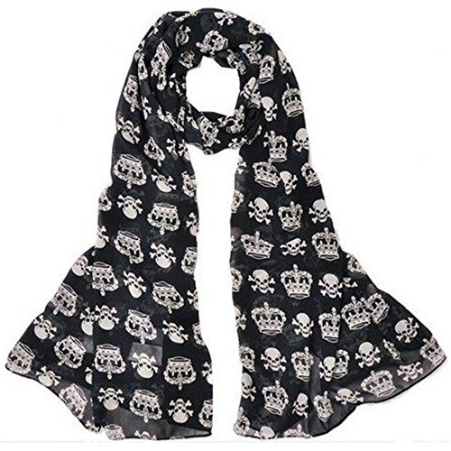 Dealzip Inc Fashion Skull and Crown Design Black Soft Long Girly Chiffon Scarf Wrap Shawl Scarves Stole for Women, Ladies and - Long Face Narrow