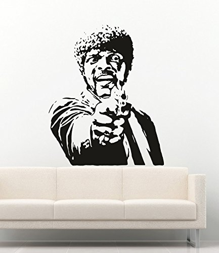 Famous Person Vinyl Wall Decals Movie Pulp Fiction Samuel Jackson Gun Weapon Shooting Stickers Decor MK2029