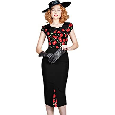 f6423ded New Rockabilly Retro Vintage Style 40's 50's Pin up Wiggle Pencil Bow Tea  Dress: Amazon.co.uk: Clothing