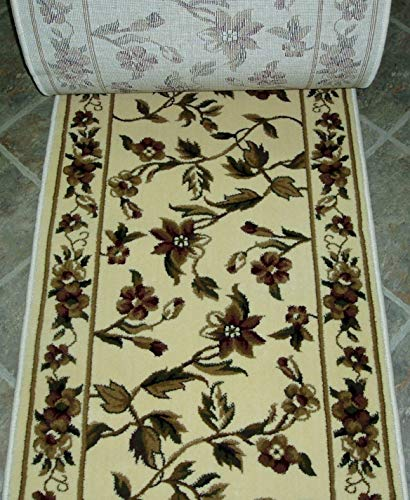 Rug Depot 153349 KAS Cambridge 7331 Ivory Country Floral Hall and Stair Runner - 26