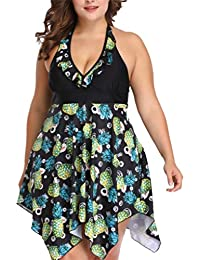 47847b7676 Women s Plus Size Halter Swimsuit Floral Swimdress Two Pieces Tankini Set  S-3XL