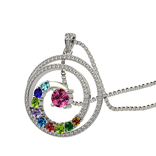 (NANA Swirl Pendant Necklace 1 to 9 Stones with a 1mm 22