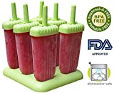 IcyTreats Popsicle Molds, Set of 6, Green, BPA Free - 15 Healthy Popsicle Recipes Kids Will Enjoy Included Free -$14.97 Value - And A Full No Questions Asked 90 Day Money-Back Guarantee On Theses Ice Pop Molds. Make Healthy, Drip-Free Popsicles, Freeze Po
