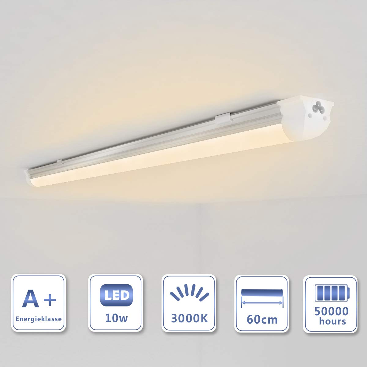 OUBO 60cm LED Leuchtstoffr/öhre komplett Set mit Fassung Neutralweiss 4000K 10W 1300lm Lichtleiste T8 Tube mit milchiger Deck
