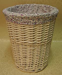 Shabby chic vintage style white wicker waste paper basket ideal for the bedroom or bathroom with - Shabby chic wastebasket ...