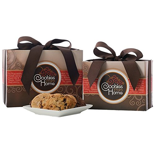 "Cookies From Home ""Large Brown Gourmet Gift Box"" - Freshly Hand Baked Gourmet Cookies and Brownies Gift Set -36 Cookies + 4 Brownies 