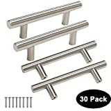 Modern Funiture Hardware Brushed Stainless Steel T Bar Kitchen Cabinet Door Handles Drawer Pull Knobs,Length:127mm-5in,Hole Centers:76mm-3in-30pack