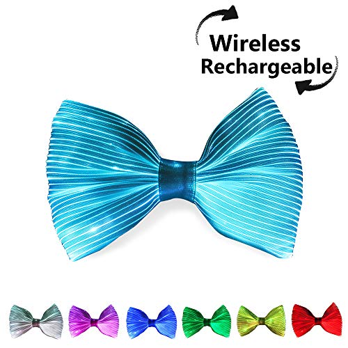 Light Up Bows (7 Glow Colors LED Light up Bow Tie, USB Rechargeable Wireless Flashing Bowtie, Pre Tied with Adjustable Strap, Optical Fiber Luminous Costume Accessory for Festival Rave)