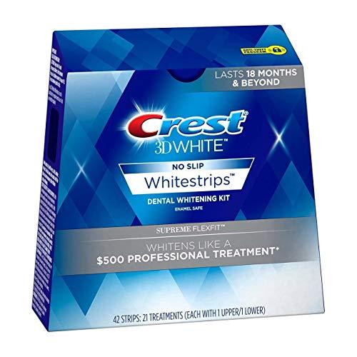 Crest 3D No Slip Whitestrips Dental Whitening Kit Supreme Flexfit – 21 Treatments, Pack of 4