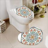 L-QN Bathroom Non-Slip Toilet Mat Collection Ottoman Turkish Floral Pattern Tulips Medieval Baroque Effect on Dated Islamic Soft Non-Slip Water