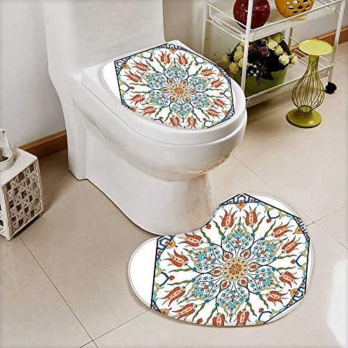 L-QN Bathroom Non-Slip Toilet Mat Collection Ottoman Turkish Floral Pattern Tulips Medieval Baroque Effect on Dated Islamic Soft Non-Slip Water by L-QN