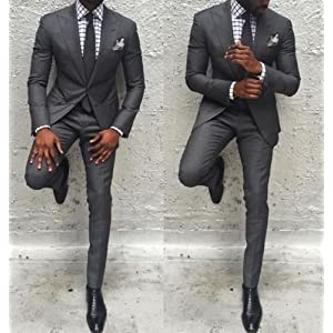 Men's 2 Pieces Slim Fit Wedding Groom Groomsmen Suit Tuxedos Prom Party Business Suit