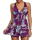 KaloryWee Summer Women Swimdress Printed Bikini Set Halterneck Top with Boyshorts Ladies Plus Size Swimwear Beachwear Swimsuit Swimming Costume Purple