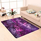 Nalahome Custom carpet ula Gas Cloud Deep Dark in Outer Space with Star Clusters Galaxy Infinity Solar Sky Print Purple area rugs for Living Dining Room Bedroom Hallway Office Carpet (36''x60'')