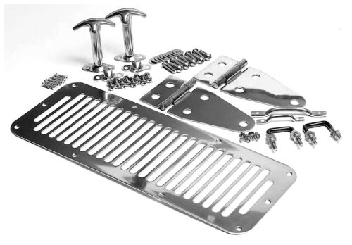 Smittybilt 7499 Complete Hood Kit for Jeep Wrangler YJ, CJ7, Stainless Steel (Wrangler Jeep Hinge Windshield)