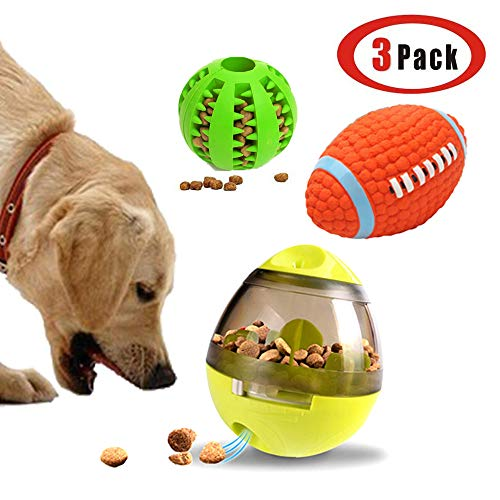 WenToyce 3 Pack Dog Treat Ball Feeder and IQ Training Toy Set, Interactive Food Dispenser Tumbler, Tooth Cleaning…