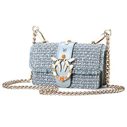 Féminine Voyage Le Petit Mode Pour Soirée Yahuyaka Bandoulière Mariage color En À D'embrayage Main Blue Sac Cuir White 61nwqA5