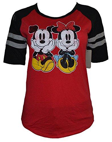 Disney Minnie & Mickey Sitting Raglan Stripe Sleeve Womens Juniors Red/Black (Medium) (Disney Adult Outfits)