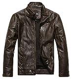 Chouyatou Men's Vintage Stand Collar Pu Leather Jacket (XX-Large, Coffee)
