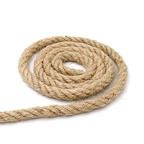 Cuerda gruesa y resistente de yute natural de 10 metros, 4 capas, cuerda perfecta para artesanía, embalaje, jardinería y reciclaje, 10 mm de grosor: ...
