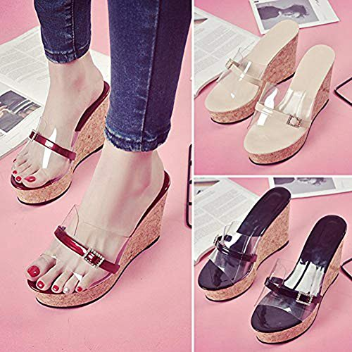 Peep T Slides on Dress Diamond Platform Sexy Transparent Black Shoes Roman Women Slip Sandals Toe JULY Wedges xqApz