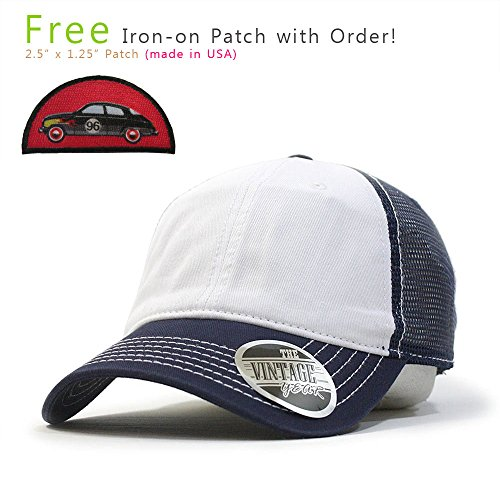 7863caac Galleon - Washed Cotton Low Profile Mesh Adjustable Trucker Baseball Cap ( Navy/White/Navy)