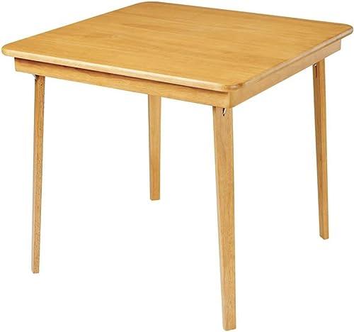 Straight Edge Wood Folding Card Table in Warm Oak Finish