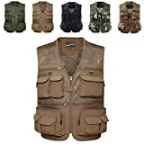 DREAM.ELK Quick Dry Fishing Vest Jacket Men Women's Waistcoat Multi Pockets Mesh Vest for Fly Fishing Outdoor Sport Photography Walking Hiking Camping Hunting Trekking Travel,Khaki,Asia:3XL/US:L