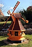Windmühlen, Windmühle Holz mit Solarbeleuchtung LED 18(groß, Rot)