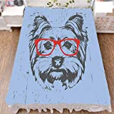 iPrint Bed Skirt Dust Ruffle Bed Wrap 3D Print,Red Nerd Glasses Tainted Backdrop Animal,Pale,Fashion Personality Customization adds Color to Your Bedroom. by 59''x78.7''