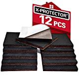 Non Slip Furniture Pads X-PROTECTOR - Premium 12 pcs 3' Furniture Pad! Best Furniture Grippers - SelfAdhesive Rubber Feet - Furniture Floor Protectors for Keep in Place Furniture & Furniture Stoppers
