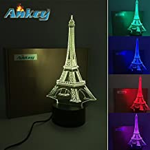 Eiffel Threetoo Tower 3D Multi-Color Change USB Button LED Decor Lamp Amazing Optical Illusion Night Lighting Lamps  Lighting Toys