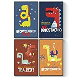 Pillow & Toast Dinosaur Wall Art, Posters for Kids: Bedroom or Room Decor, Set of Four 11x17 T-Rex Jurassic Posters, Dino Children Decor.