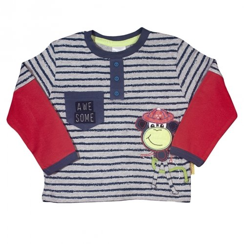Hooligans Kids Fun Boys Blue Striped T-Shirt with red Long Sleeves. Gorgeous Monkey Theme with Front Pocket. 100% Cotton - Limited Edition (2-3 Years) (Monkey Striped Red)