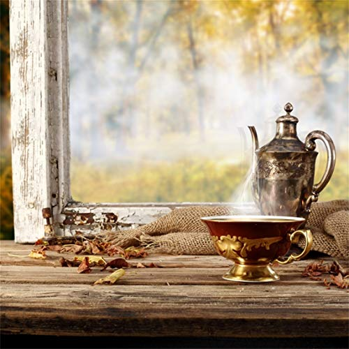 Leyiyi 10x10ft Bokeh Autumn Garden Backdrop Western Farmhouse Vintage Teapot Coffee Pot Cup Old Wooden House Fallen Leaves Photography Background Thanksgiving Day Photo Studio Prop Vinyl Wallpaper