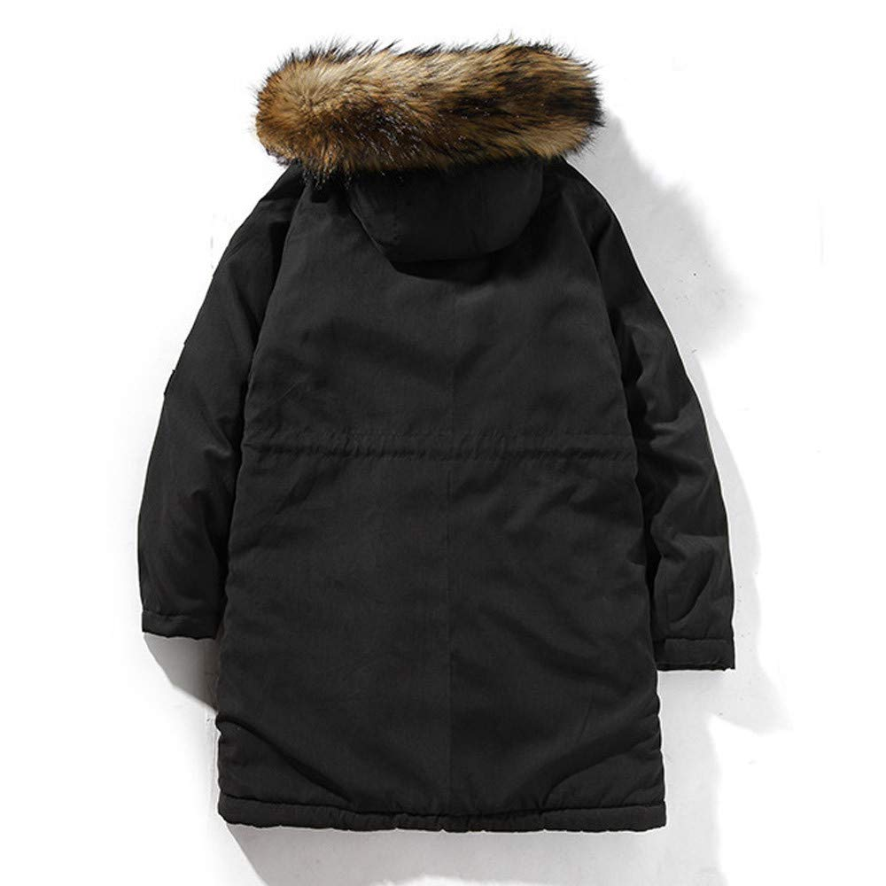 Mens Winter Long Sleeve Hooded Pocket Thickening Pullover Shirt Top Jacket Coat Mens Puffer Jacket with Hood
