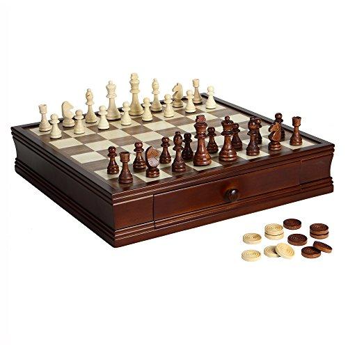 Hathaway Prodigy Wood Chess & Checkers Set Walnut