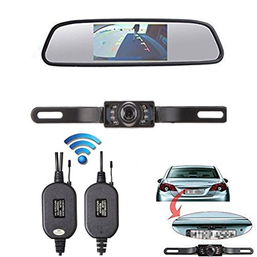 LeeKooLuu Wireless CMOS Rear View Backup Camera and Monitor Kit for Car With 7 LED Night Vision (Rearview Car Camera Kit compare prices)