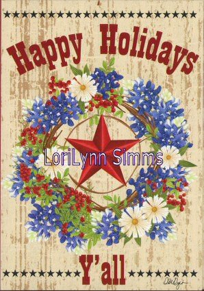Texas Christmas Cards.Amazon Com Lorilynn Simms Texas Happy Holidays Christmas