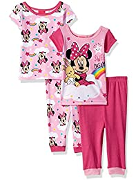 Girls Minnie Mouse 4-Piece Cotton Pajama Set