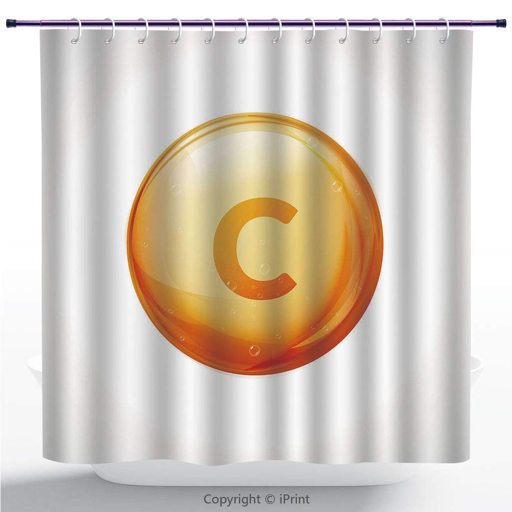 Durable Shower Curtain / Vitamin C Golden Vector Treatment. Vitamin Gold Oil Pill Icon. Skin Care Natural Nutrition. Ascorbic Antioxidant Acid Drop. Orange Medicine Capsule. / Decorative Shower Curtai
