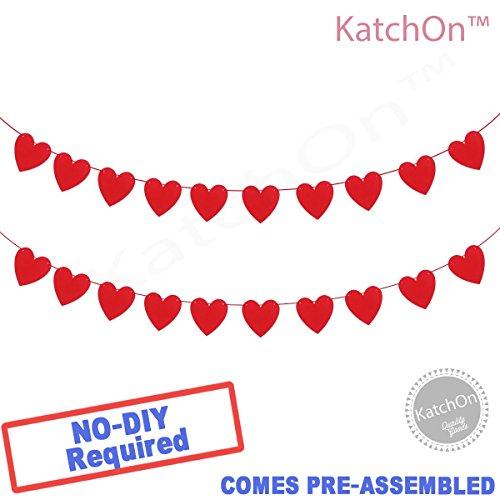 Price comparison product image Felt Heart Garland Banner - NO DIY - Valentines day Banner Decor -Valentines Decorations - Anniversary, Wedding, Birthday Party Decorations