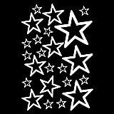 Wandtattoo Sterne Set 'Outline' runde Ecken 14x2,5cm6x5cm2x7,5cm1x10cm weiß